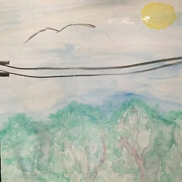 Watercolor Telephone Pole Landscape by cduby