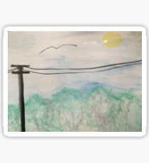 Watercolor Telephone Pole Landscape Sticker