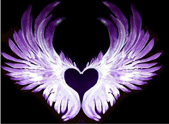 """""""Purple Angel heart wings 2"""" Posters by atlasartsn   Redbubble"""