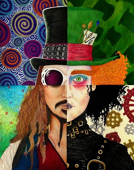 Johnny Depp Character Collage Posters By Vanessa Delgado Redbubble