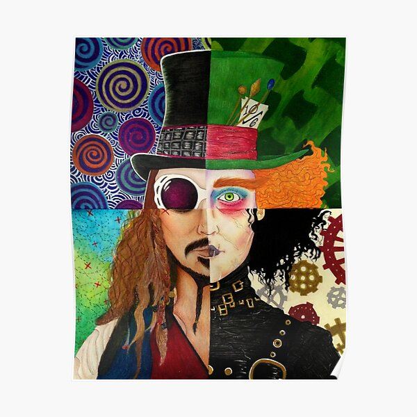 Johnny Depp Character Collage Poster