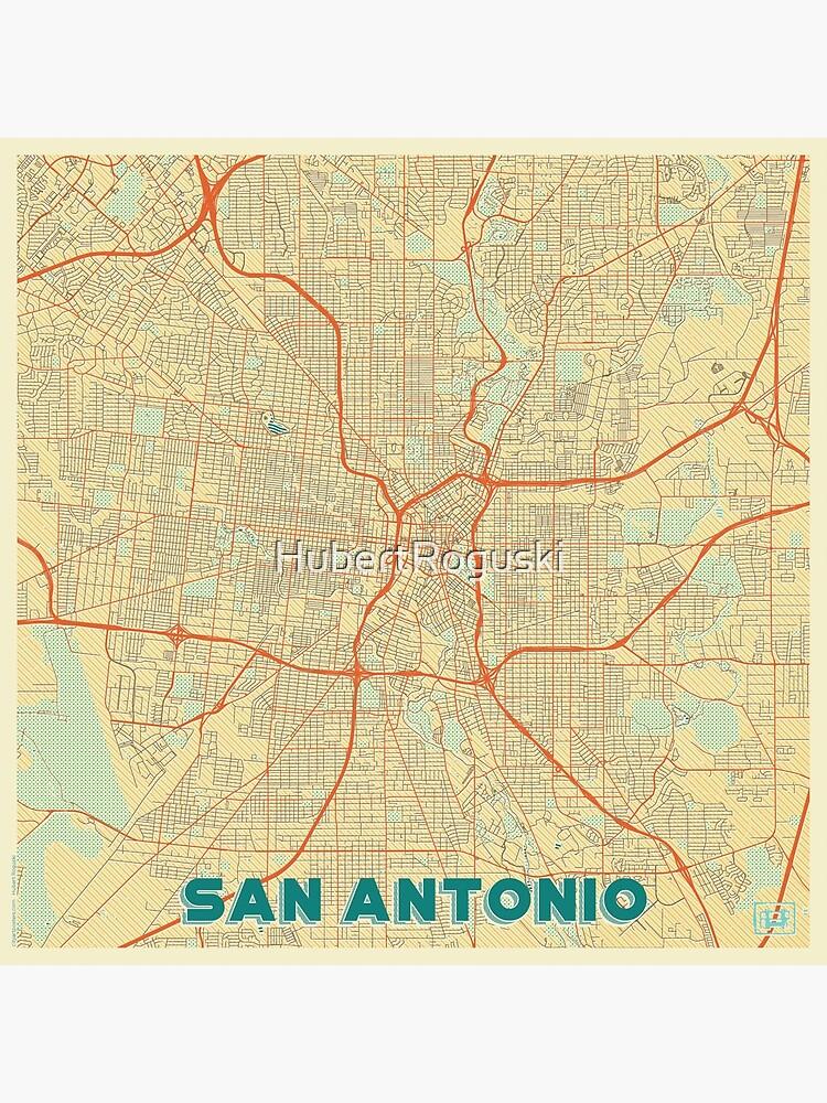 San Antonio Map Retro by HubertRoguski