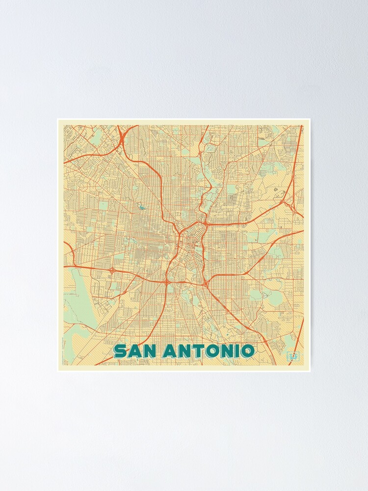 Alternate view of San Antonio Map Retro Poster