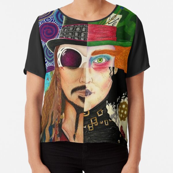 Johnny Depp Character Collage Chiffon Top