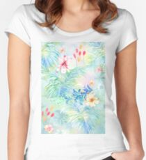 Butterfly flowers, banana leaves Women's Fitted Scoop T-Shirt