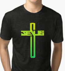 Jesus Cross Christian Graphic Tri-blend T-Shirt