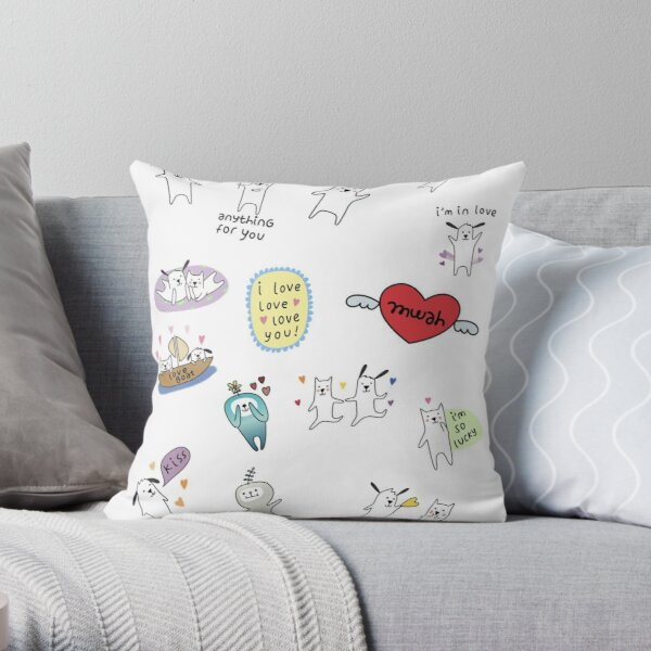 Snapchat Dog Sticker Pack Throw Pillow