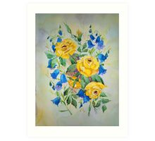 Blue bell and Yellow Roses Art Print