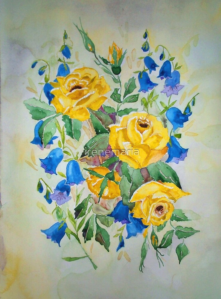 Blue bell and Yellow Roses by irenemaria