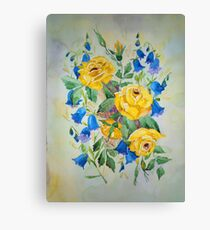 Blue bell and Yellow Roses Canvas Print