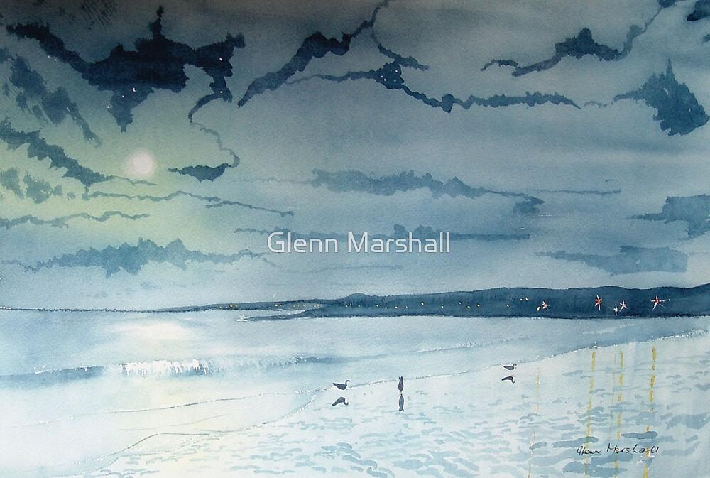 Moonlight on Filey Bay by Glenn Marshall