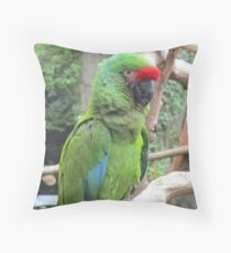 The Mighty Military Macaw Throw Pillow