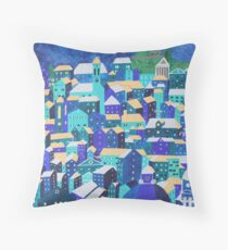 Moonlit Roofs, Corfu Throw Pillow