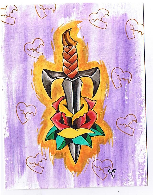 Dagger with rose by Gerry Harrison