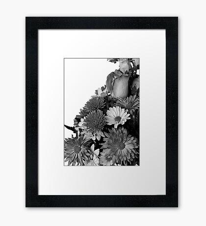 Half of Floral Arrangement in B & W Framed Print