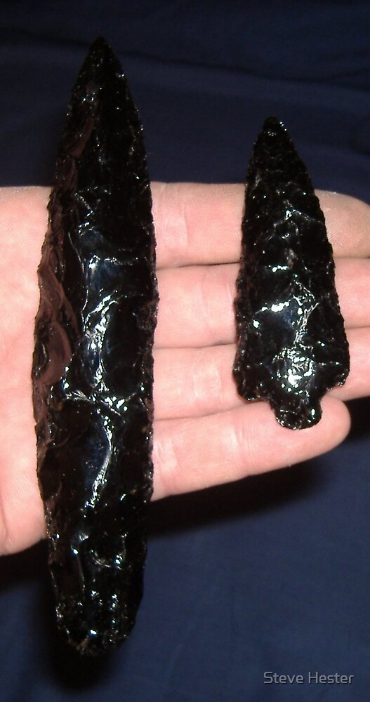 Black Glass Arrowheads by Steve Hester