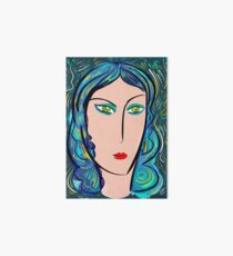 Pop girl with green eyes and blue hair Art Board