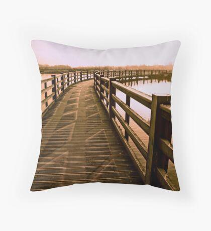 Boardwalk In Sepia Throw Pillow