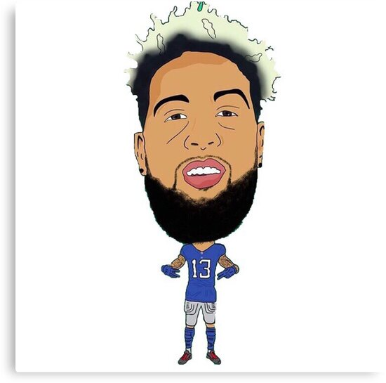 odell beckham jr football cartoon canvas prints by reesehitch