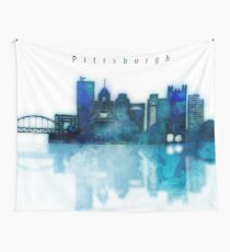 Watercolor cityscape of Pittsburgh city, Skyline in blue Wall Tapestry