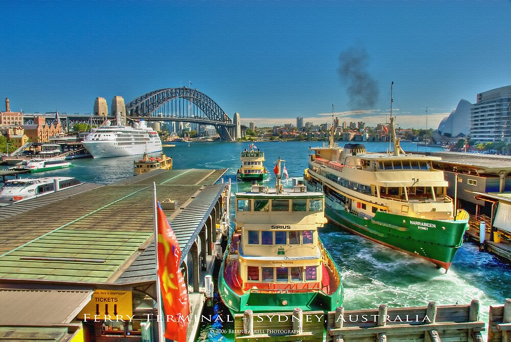 Sydney Harbour Ferry Terminal (Textured Canvas Finish) by Brian Farrell