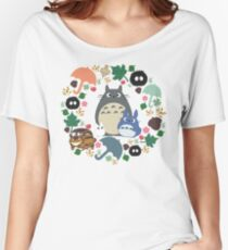 My Neighbor Totoro Wreath - Anime, Catbus, Soot Sprite, Blue Totoro, White Totoro, Mustard, Ochre, Umbrella, Manga, Hayao Miyazaki, Studio Ghibl Women's Relaxed Fit T-Shirt