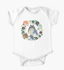 My Neighbor Totoro Wreath - Anime, Catbus, Soot Sprite, Blue Totoro, White Totoro, Mustard, Ochre, Umbrella, Manga, Hayao Miyazaki, Studio Ghibl Short Sleeve Baby One-Piece