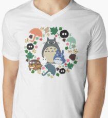 My Neighbor Totoro Wreath - Anime, Catbus, Soot Sprite, Blue Totoro, White Totoro, Mustard, Ochre, Umbrella, Manga, Hayao Miyazaki, Studio Ghibl Men's V-Neck T-Shirt