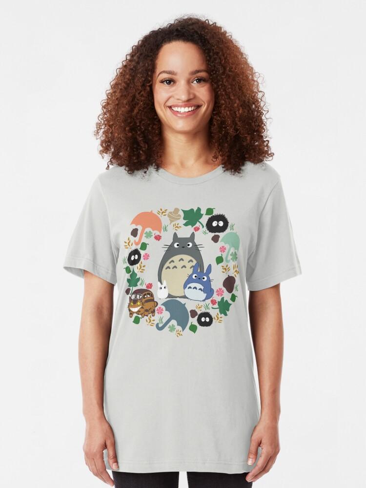 Alternative Ansicht von Mein Nachbar Totoro Kranz - Anime, Catbus, Ruß Sprite, Blau Totoro, Weiß Totoro, Senf, Ocker, Regenschirm, Manga, Hayao Miyazaki, Studio Ghibl Slim Fit T-Shirt