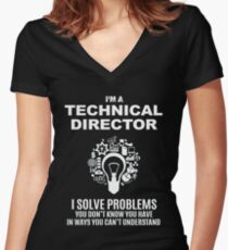 TECHNICAL DIRECTOR - SOLVE PROBLEMS WHITE Women's Fitted V-Neck T-Shirt