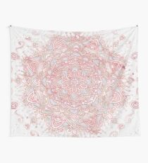 White snowflake rose mandala Wall Tapestry