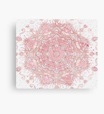White snowflake rose mandala Canvas Print
