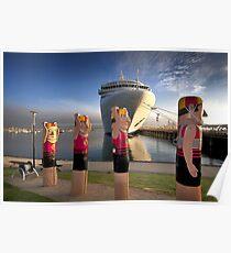 0747 Bollards and Silver Spirit - Geelong Poster