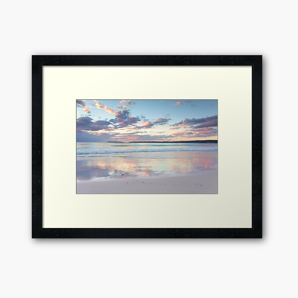 Pretty pastel dawn sunrise at Hyams Beach Australia seascape Framed Art Print