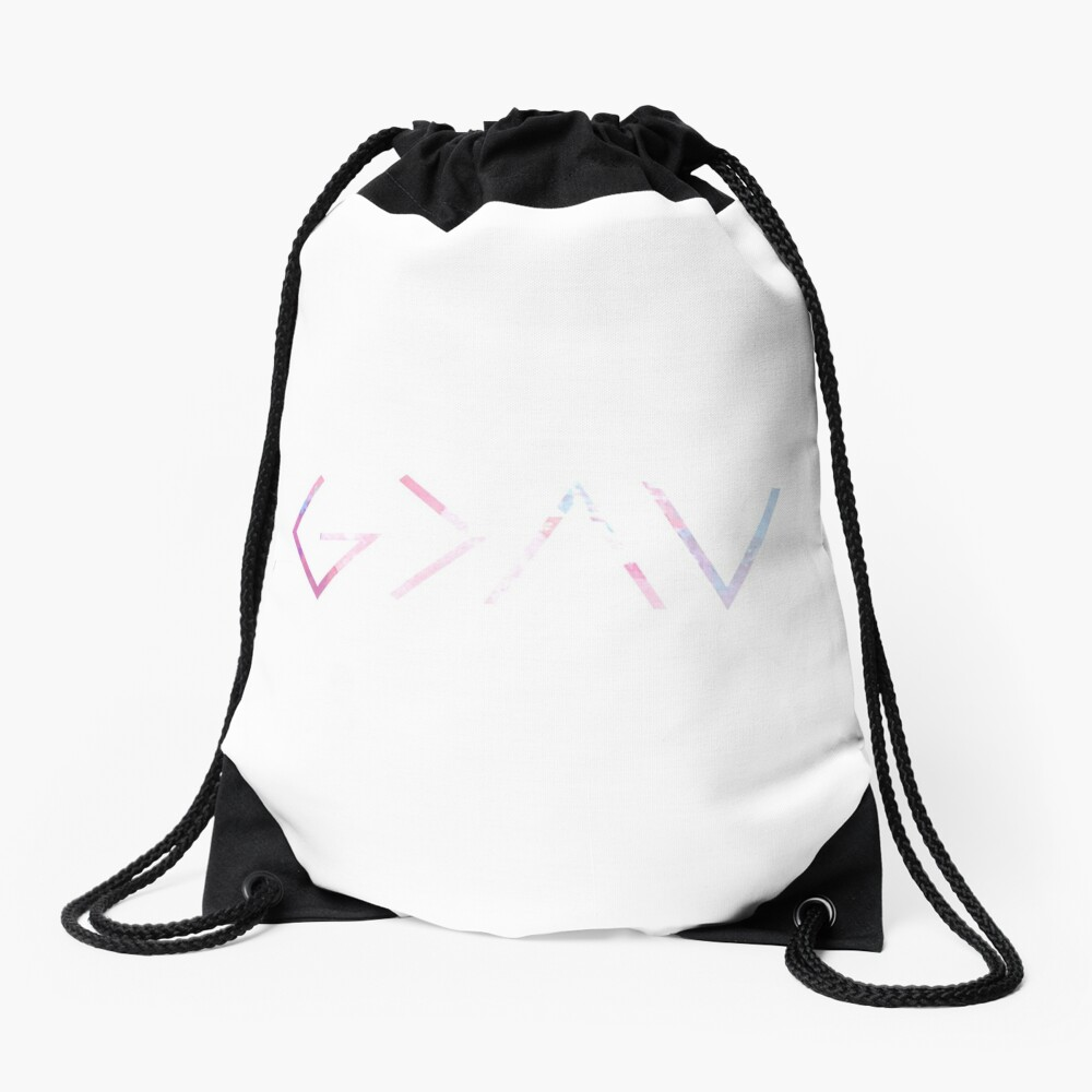 God Is Greater Than the Highs and Lows Drawstring Bag