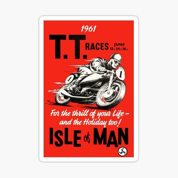 T.T. ISLE of MAN: Impresión de carreras de motos vintage Pegatina