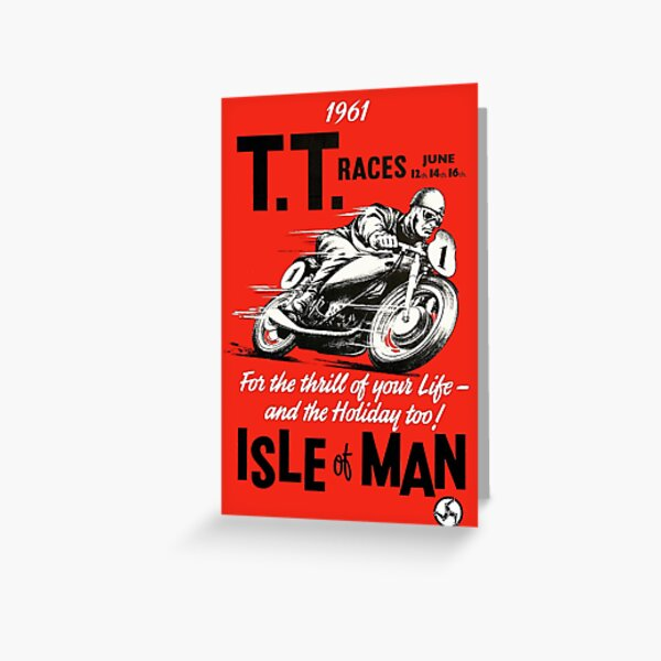 T.T. ISLE of MAN: Vintage Motorcycle Racing Print Greeting Card