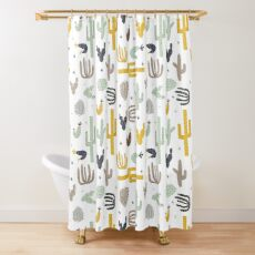 cactus - mustard navy Shower Curtain