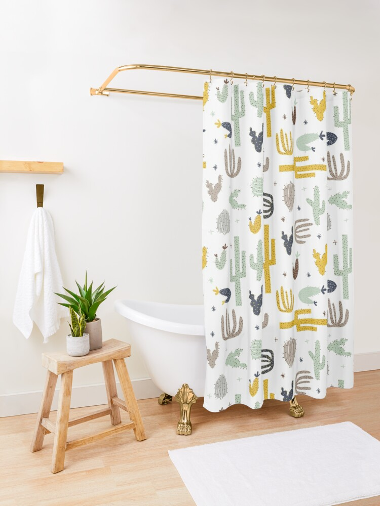 Alternate view of cactus - mustard navy Shower Curtain