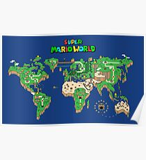 SMW Super Mario World Map Poster
