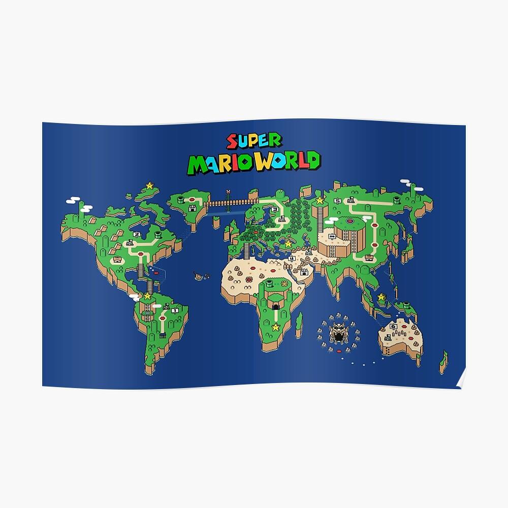 SMW Super Mario World Map Póster