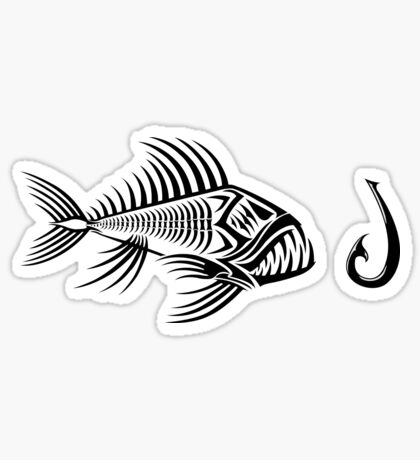 Fish and Hook Sticker