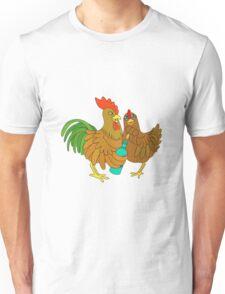 Half chicken open a wine bottle. Unisex T-Shirt
