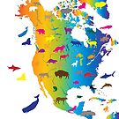 Animal Map of North America by MotionAge Media