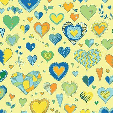 Hearts pattern - Citrus - Valentine pattern by Cecca Designs by Cecca-Designs