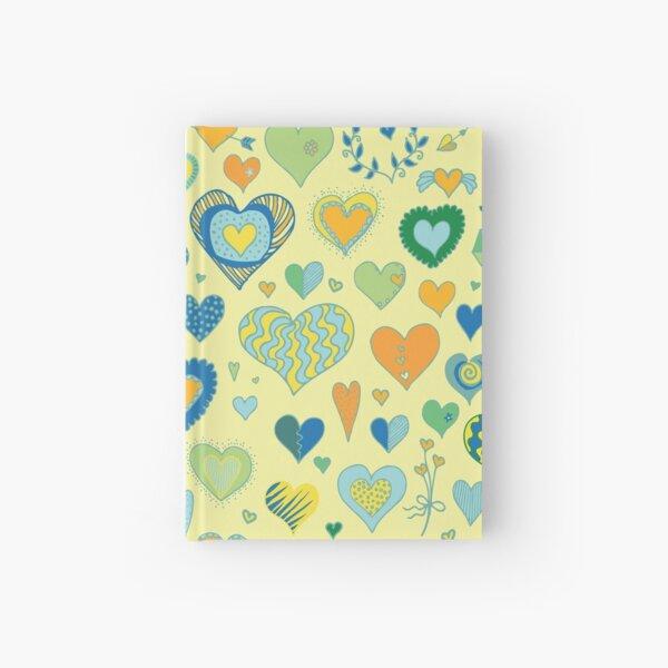 Hearts pattern - Citrus - Valentine pattern by Cecca Designs Hardcover Journal