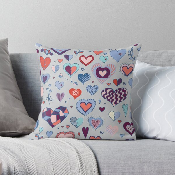 Heart pattern - Pink and Blue - Valentine pattern by Cecca Designs Throw Pillow