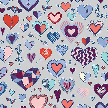Heart pattern - Pink and Blue - Valentine pattern by Cecca Designs by Cecca-Designs