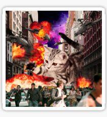 Cat Attack New York City Sticker