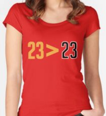 LeBron Greater Than Jordan (Red) Women's Fitted Scoop T-Shirt